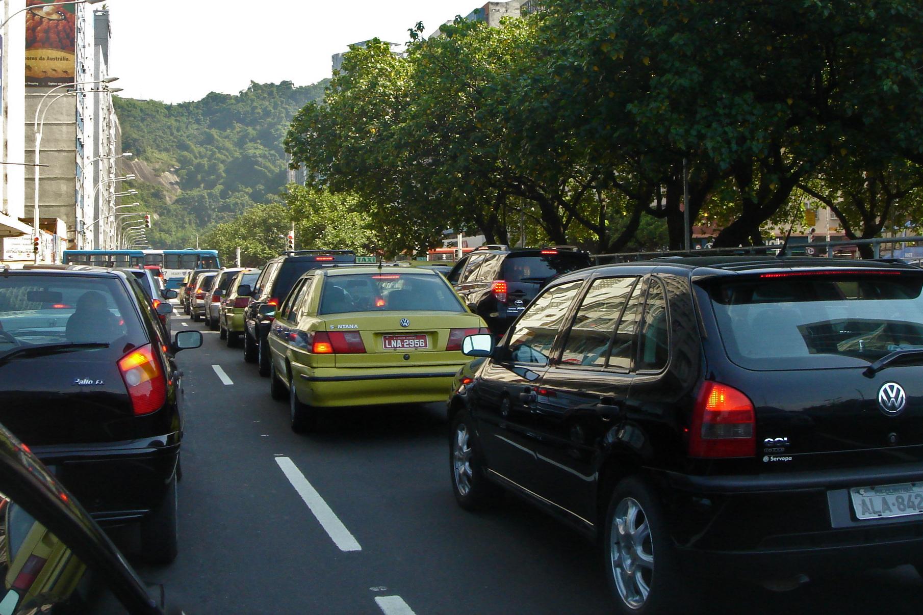 Traffic congestion in Rio de Janeiro (Leme)